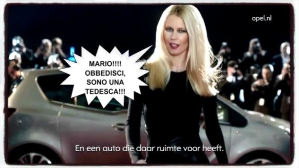 Claudia-Schiffer nuovo spot Opel a Napoli